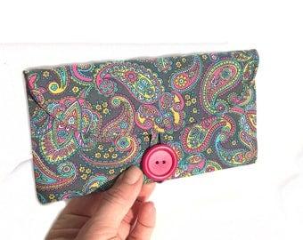 checkbook case. grey paisley coupon wallet. cute womans cash envelope. grey cotton material fabric. tween girl gift