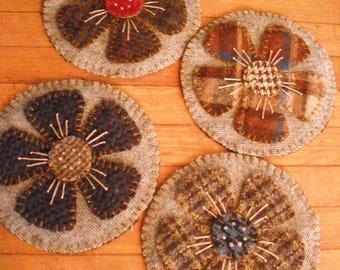 Wool Penny Rug Coasters -Set of 4