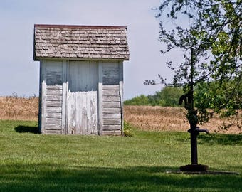 Rural America, Outhouse Photo, Rustic Decor, Outhouse Print, Wooden Outhouse, Bathroom Photo Powder Room Print Fine Art Photograph Out House