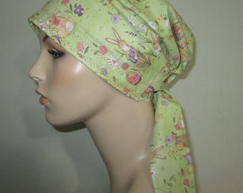 Easter Bunnies  Chemo Hat, Cancer Scarf, Surgical Scrub Hat, Turban, Hair Loss Free Ship USA