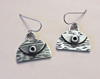 Handbag sterling oxidized cute dangle purse earrings