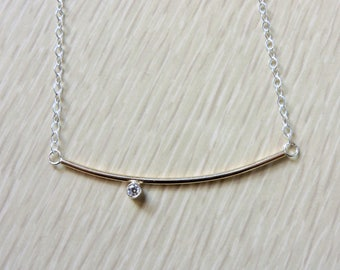 Minimalist curved bar necklace with silver bezel set cubic zirconia sterling or gold filled necklace