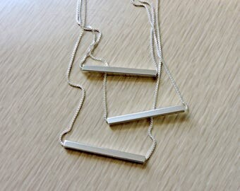 Sterling silver minimalist horizontal square tube bar necklace