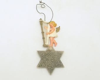 Vintage Christmas Ornament Angel on Star Harp West Germany Christmas Decoration