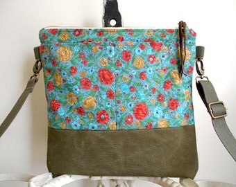Floral & military canvas crossbody, iPad flat bag - eco vintage fabrics