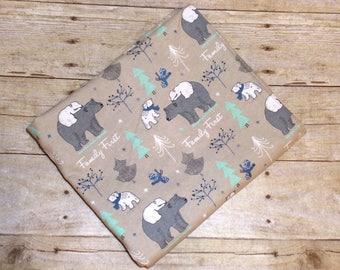Mama Bear Receiving Blanket - Baby Bear Swaddle Blanket -  Polar Bear Receiving Blanket - Baby Boy Flannel Baby Blanket - Baby Photo Prop