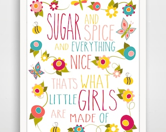 Sugar And Spice and Everyhing Nice Floral Print - Pink Baby Shower Nursery Art Sign -  Pink Girl Baby Shower Decorations Girl