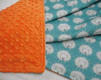 My Friend Spike Porcupine Teal and Orange Minky Baby Blanket 28 x 28 READY TO SHIP On Sale