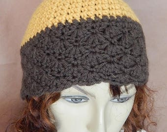 CLEARANCE - Olive yellow hat,  scallop hat, womens fashion, winter accessory, winter wear