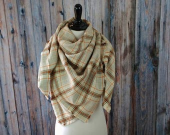 Plaid Blanket Scarf - Gifts for Her - Blanket Scarf - Fringed Scarf - Blanket Scarf Plaid - Christmas Gift for Wife