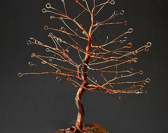 Hand Twisted Metal Copper Wire Tree Art Sculpture  - 2275 - FREE SHIPPING