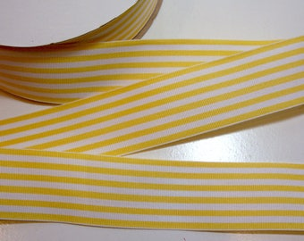 Yellow and White Stripe Grosgrain Ribbon 1 1/2 inches wide x 10 yards, Combo Stripe Ribbon