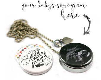 Sonogram Jewelry • Your Baby Sonogram Locket Necklace • Personalized Picture • Magnetic • Interchangeable Lids • Stamped Custom Heart Charm