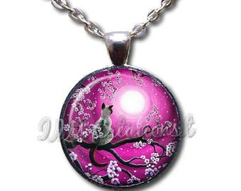 20% OFF - Cat Lover Perched on Cherry Blossom Pink Glass Dome Pendant or with Chain Link Necklace  AN225
