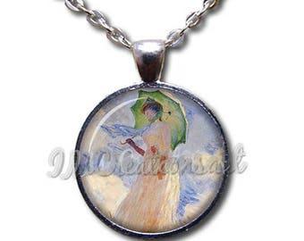25% OFF - Claude Monet's Japanese Bridge Glass Pendant Necklace Square Round AP164