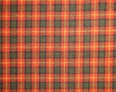 Rust And Olive Cotton Homespun Fabric | Rag Quilt Plaid Fabric | Doll Making Fabric | Woven Cotton Fabric | Fall Sewing Fabric