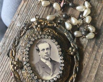 Charles My Vintage Boyfriend Portrait Photography Frame Necklace Pearl Rhinestone Steampunk Victorian