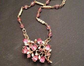 Lilac Vintage Repurposed Gold Glass Purple Necklace