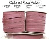 Colonial Rose, Nylvalour Swiss Velvet Ribbon --3/8 inch, 5/8inch, 7/8inch, 1&7/16inch purple pink, rose velvet, antique pink (263)