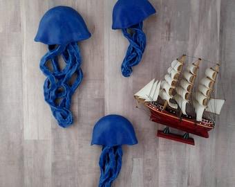 Cobalt Blue Jellyfish ceramic wall sculpture. Set of 3 art installation. Large wall art. Matte indigo fish. Ocean, Sea mermaid wall decor.