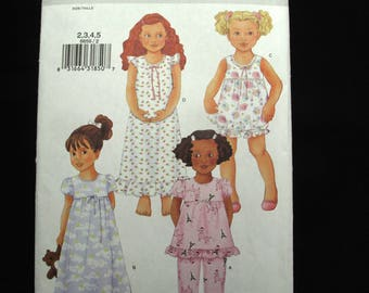 Butterick 6659 Children Girls Nightgown Pajamas Pattern Summer Uncut Sewing 2 3 4 5
