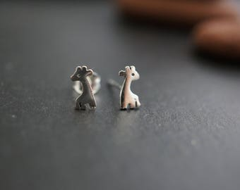 High Quality Sweet and Simple Solid 925 Sterling Silver Cutie Baby Giraffe Earrings with Silver Backings - 8mm x 4mm - 1 pair