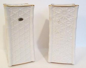 Noritake Vase Set of 2 Bone China 22 karat Gold Basket Weave Daisy Rare Vintage