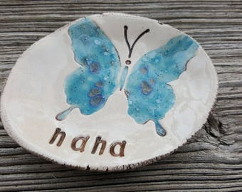 nana dish, butterfly, clay keepsake, ring holder, jewelry dish, grandmother gift