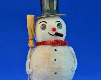 Vintage Spun Cotton Batting Snowman in Top Hat with Chenille Trim - Japan - Ornament - Winter Decoration - Christmas Décor - Frosty Snowman