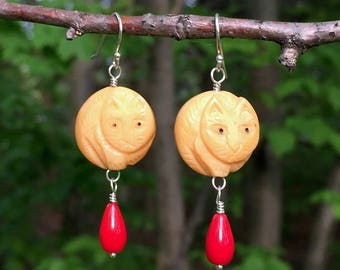 OOAK carved cat dangle earrings, bone, sterling and red coral