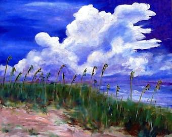 Beach Art - Ocean Art - Seascape Art - Art Print - A Walk on the Beach - North Carolina Art