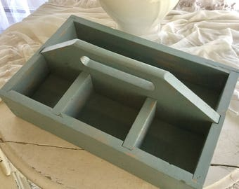 Aqua Blue Green Tool Tote or Caddy Antique, Weathered - For Flatware, Gardening, Organization and Display