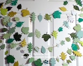Beautiful New Sprimg Green Leaf Garland......9 Ft of Die cut Leaves... photo prop....removeable gift tag...Home decor...lucious greens!