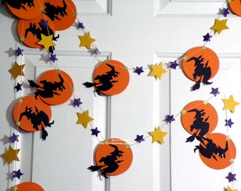 Halloween Garland...9 Feet of Witches Fling to the Moon!...Witch Moon and Stars!...Die Cuts...Paper Pieced...Machine stitched..Fabulous!