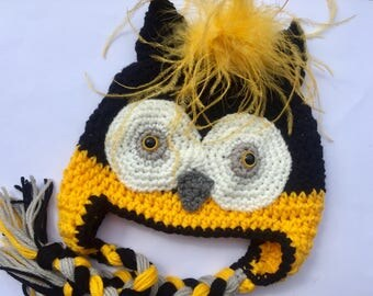 Baby// Adult // Crochet // Pittsburgh Team Color // Owl Earflap Hat // All Sizes Available // Newborn to Adult Female // Black and Gold