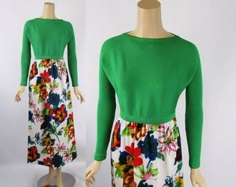 Vintage 1960s Goldworm Maxi Dress with Kelly Green Knit Top and Floral Skirt Sz 10 B34 Small