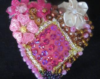 Heart shaped brooch, beaded pin