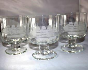 Set of 3 Crystal Cocktail Glasses - Etched Sailing Ship Design- Rocks Old Fashioned Glasses- Pedestal Footed- Windjammer Clipper Ship- 12 oz