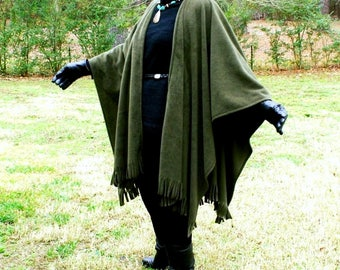 Olive or Avocado Green Anti Pill Fleece Wrap, Poncho, Cape, Blanket Scarf, or Shawl with Fringe--Lightweight Warmth--One Size Fits Most