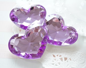 SALE 3 pcs High Quality Big 3D Heart Rhinestones/Gems (35mm42mm) Purple