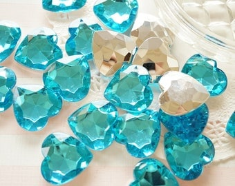 10 pcs 3D Acrylic Heart Rhinestones/Gems (25mm) Aqua Blue