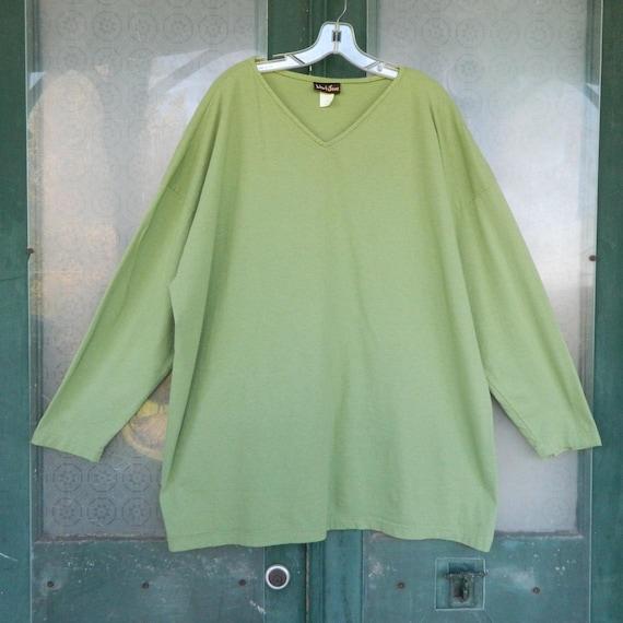 Liz & Jane Long-Sleeve V-Neck Tunic -1X- Green Cotton Jersey
