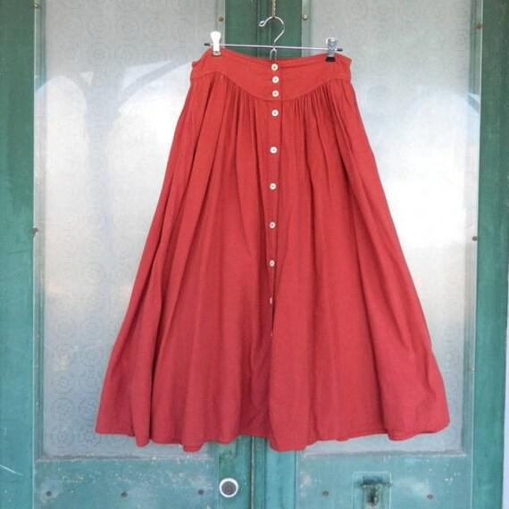 Vintage Color Me Cotton Boho Hippy Skirt -L- Rust Red Cotton
