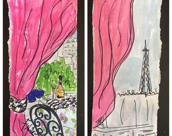 Hot Pink Parisian Drapery Balcony
