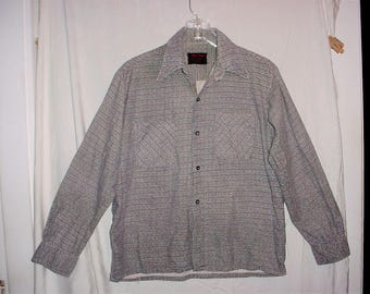 Vintage 60s Green Brown Check Flannel Shirt M Long Sleeve As Is