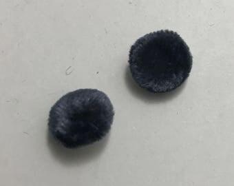 """Ocean Blue SILK VELVET Fabric Buttons - Hand Made Buttons - set of 6 - 1/2"""""""