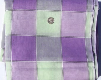 Vintage Cotton Organdy Fabric Mint Lavender Plaid 3 yds By the Yard 35""