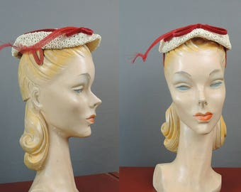 Vintage Hat Ivory Lace Straw with Red Feather & Velvet, 1950s