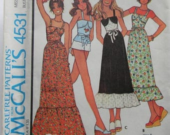 Christmas in July Vintage McCall's Dress and Top Pattern N 4531 Uncut, 1975