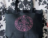 Gothic Lilith Symbol Sigil Wiccan Satanic Oversize Pocket Tote Bag Purse in Pink and Black - Ready to Ship - Warning Label Creations